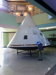 A space capsule on display