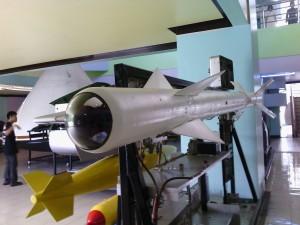 A missile on display
