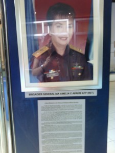 A lady officer is featured in the display