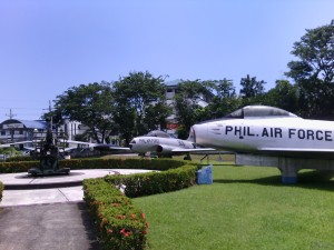 War planes displayed outside the museum