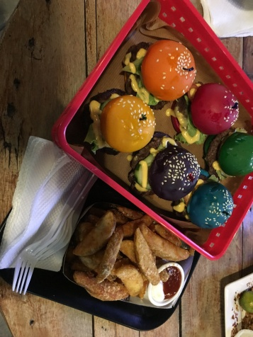 Rainbow colored mini burgers at P449